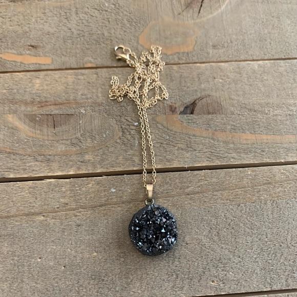 handmade Jewelry - Beautiful handmade black natural druzzy necklace